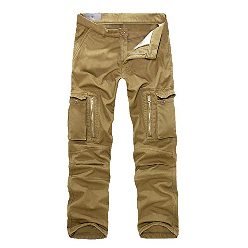 ZIYOU Hosen Herren Latzhose Männer Cargo Chino Hosen Lange Mehrere Taschen Beiläufige Outdoor Regular fit Pants Ohne Gürtel(Khaki,36) -