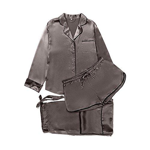 8515cd4049 LilySilk Seide Schlafanzug Nachtwäsche Set 3 Teilig Damen Pyjama mit Weißem  Besatz Kurz/Lang von