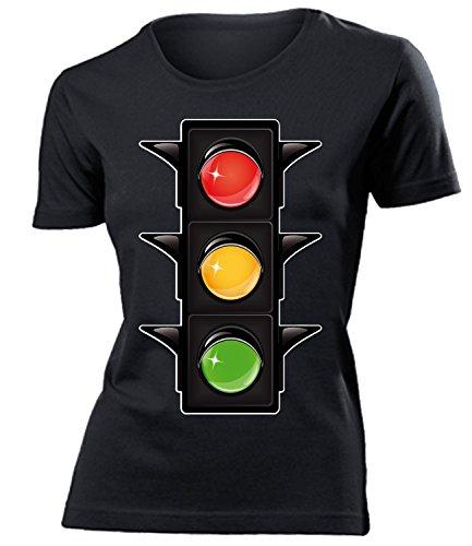 Ampel Kostüm Kleidung AmpelKostüm 2593 Damen T-Shirt Frauen Karneval Fasching Faschingskostüm Karnevalskostüm Paarkostüm Gruppenkostüm Schwarz XXL