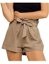 Pantalones cortos para mujer, RETUROM Pantalones cortos ocasionales de la cintura de las nuevas mujeres del diseño con la correa (Caqui, M)