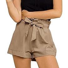 Pantalones cortos para mujer, RETUROM Pantalones cortos ocasionales de la cintura de las nuevas mujeres del diseño con la correa (Caqui, S)