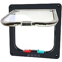CEESC - Puerta magnética para gato con 4 cerraduras para cachorros y perros pequeños, 3 tamaños y 2 colores disponibles