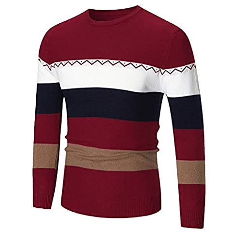 Zhuhaitf Hiver homme Vêtements Men's Father's Crew Neck Long Sleeve Stripe British Style Sweater Jumper Knitted Pullover