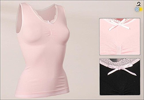 Damen Form-Hemd Top seamless mit Spitze und Schleife,Formt Taille und Bauch Schwarz