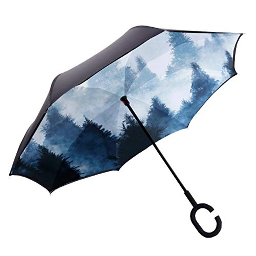 WENYAO Reverse Umbrella-Outdoor Umbrella-Regenschirm-Automotive Use-Regenschirm-Erwachsene-Long Handle Reverse Umbrella-Übergroße-Verstärkung-Double-Sunny Rain yusan (Farbe: 4#)