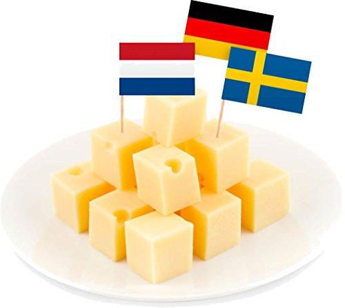 Lot de 144 drapeaux utilisés comme décoration pour évènements, soirées à thème, anniversaires - Pays : Pays-Bas, France, Grande-Bretagne, Suède, Danemark, Allemagne, Italie, Autriche, Grèce, Belgique