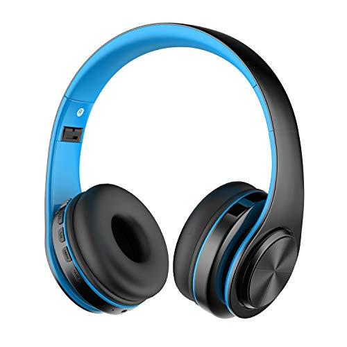Alitoo cuffie bluetooth,over-ear senza fili cuffie pieghevole auricolari wireless stereo headphone con microfono riduzione del rumore per tablet,pc,smartphone,ipod,mp3(nero&blu)