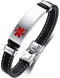 ad0a0722f2c1 Vnox Pulsera Personalizada del Brazalete del Cuero Genuino Identificación  Médica Alerta Acero Inoxidable