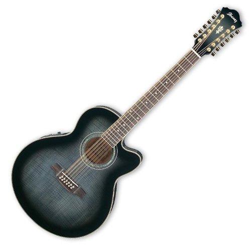 AKUSTIK-ELEKTRO GITARRE IBANEZ TRANSP. BLACK SB. 12-SAITER (Akustik-elektro Ibanez Gitarre)