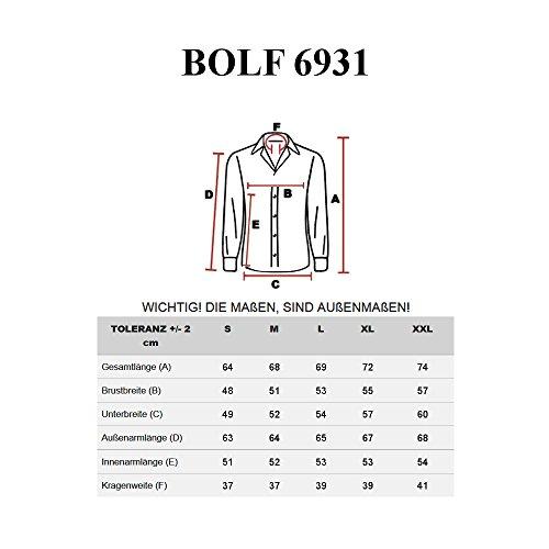 BOLF – Chemise casual – avec manches courtes – BOLF 6931 – Homme Gris foncé