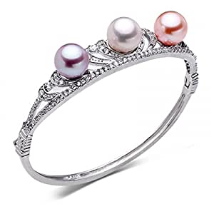 HeBe Jewelry Colors Natural Freshwater Round Pearls Alloy Plating Platinum Bangle Bracelet