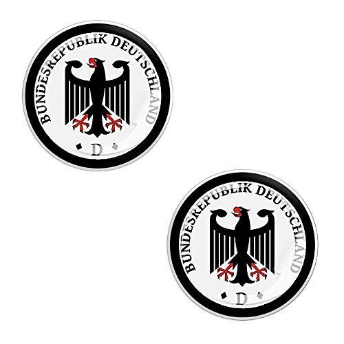 Skino 2 x Bundesrepublik Deutschland Deutsche Land Staat Aufkleber 3D Gel Silikon Schwarz Stickers Kennzeichen Nummernschield Auto Moto Motorrad Fahrrad Skate Fenster Tür PC Tablet Laptop Tuning G 17