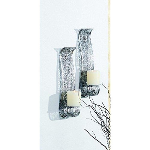 VARILANDO silberfarbener Wandkerzenhalter aus Metall im 2er-Set Kerzenhalter - Kerze-halter-wand-dekoration
