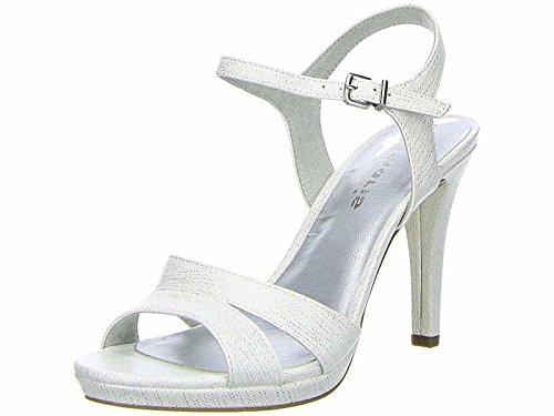 Tamaris Sandaletten 1-28007-20 Damen Plateau Riemchen High Heels, Schuhgröße:36;Farbe:Weiß (High Heels Slingback Plateau)