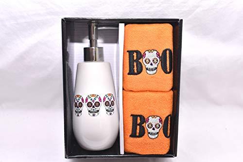 3-teiliges Halloween-Badezimmerzubehör-Set mit Lotion, Seifenpumpe und Halloween-Boo Sugar Skull Fingerspitzen-Handtücher
