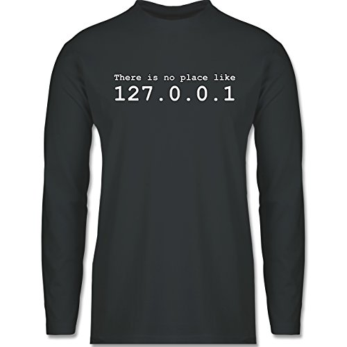 Programmierer - There is no place like 127.0.0.1 - Longsleeve / langärmeliges T-Shirt für Herren Anthrazit