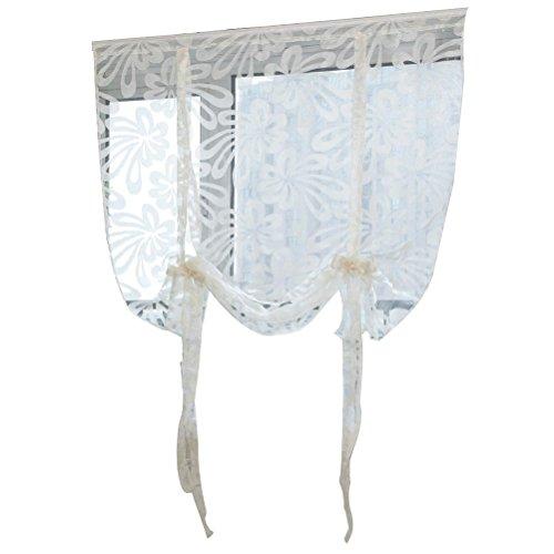 Vosarea tenda per porta in vetro e tenda di finestra con fiore taglio fronde di stile romano (giallo)