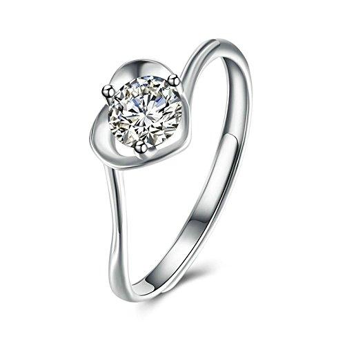 Gnzoe Schmuck S925 Sterling Silber Damen Trauringe Offener Ring Verlobungsringe Herz Form Trauringed Romantik Silber Gr.57 (18.1) (Titanum Verlobungsring)