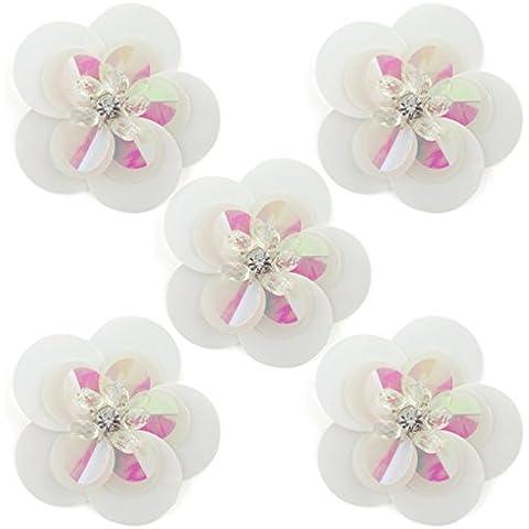 Accesorios No.16 grande redondo blanco de lentejuelas de Diamante y flor Coser Trims- Adornos de ropa, - Pack de 5