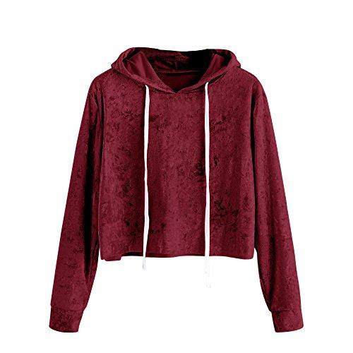 Sudadera con capucha de Terciopelo para mujer, LILICAT Camisas Blusas Corto de Otoño Manga larga Elegantes (XL, Vino Rojo)