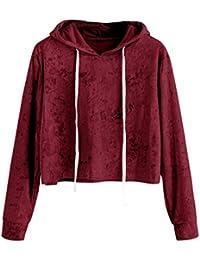 Sudadera con capucha de Terciopelo para mujer, LILICAT Camisas Blusas Corto de Otoño Manga larga Elegantes (M, Rosa)