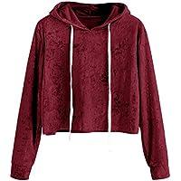 Sudadera con capucha de Terciopelo para mujer, LILICAT Camisas Blusas Corto de Otoño Manga larga Elegantes (M, Vino Rojo)