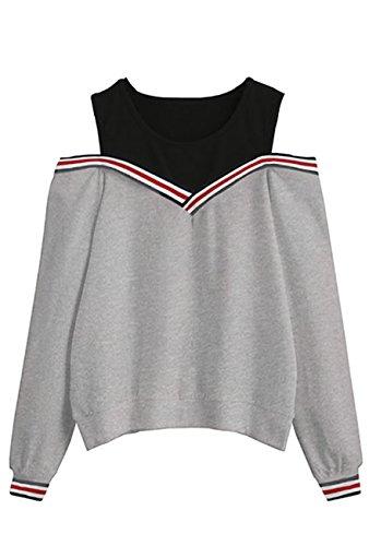 Walant Damen Fake Two-Piece Schulterfrei Locker Pullover Sweatshirts Sportswear