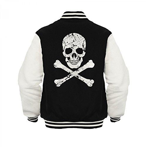 Fashionalarm Herren College Jacke - Totenkopf | Varsity Baseball Jacket | Sweatjacke mit Totenschädel, Farbe:schwarz / weiß;Größe:XXL