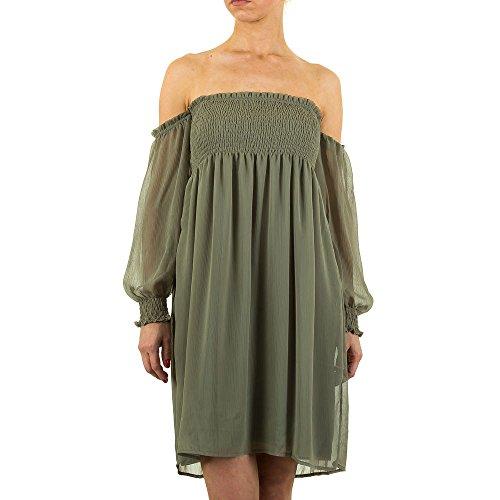 Off Shoulder Chiffon Kleid Für Damen bei Ital-Design Khaki