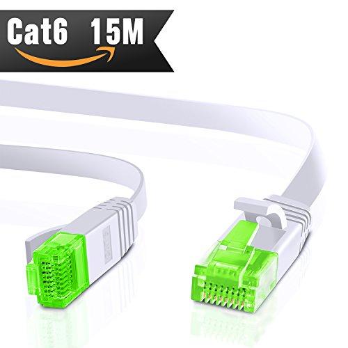 15m CAT.6 Ethernet Gigabit Lan Netzwerkkabel (RJ45) 1Gbps 250Mhz,Switch, Router, Modem, Patchpannel, Access Point, Patchfelder, weiß von CableMonsta