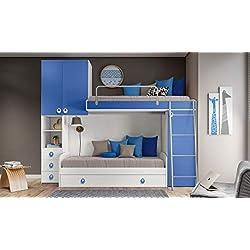 InHouse srls Camera a Ponte Color Bianco frassinato e Blu con Due Letti - Divano Letto e Letto a soppalco - e Armadio Integrato. Altezza 236 - Lunghezza 295 - profondità 86,5.