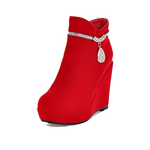 AllhqFashion Damen Mattglasbirne Hoher Absatz Rein Niedrig-Spitze Reißverschluss Stiefel, Rot, 38