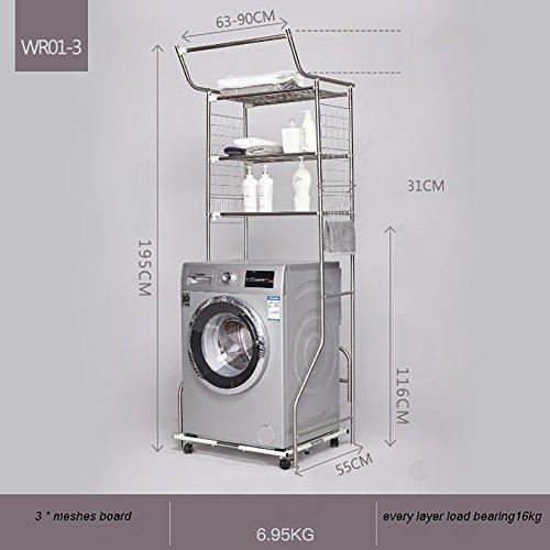 Drei Regal (Waschmaschine Regal Commodity Regal Toilette Rack Waschküche Rack Drei Schichten ( Farbe : Meshes plate ))