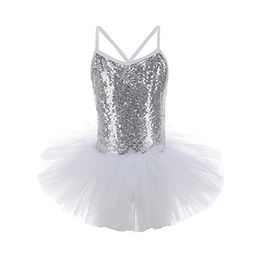 (Lolanta Mädchen Ballettkleid Ballett Tutu Kleid Ballerina Schwan Kostüm Gymnastik Gymnastikanzug (Weiß, 128/134))