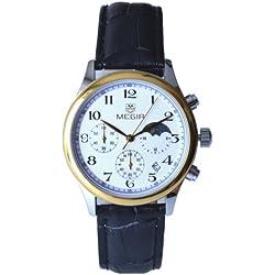 Megia Unisex Chronograph Modell W0613-16A1Srg 3ATM Lederarmband 24Std. Chrono
