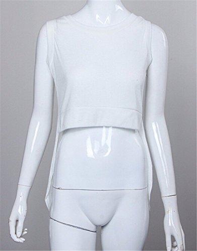 """QIYUN.Z T-Shirt Unregelmäßigen Spitzenbluse Sexy Frauen Heißen Sommer Art Und Weise Sleeveless Wei? QIYUN.Z"""" Weiße"""