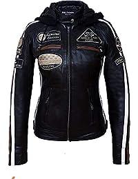 Urban Leather Chaqueta Moto Mujer de Cuero '58 LADIES', Chaqueta Cuero Mujer, Cazadora Moto de Piel de Cordero, Armadura Removible para Espalda, Hombros y Codos Aprobada por la CE |Negro, L (UR-154)