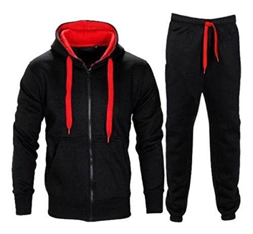 New Mens Tracksuit Set Fleece Hoodie Top Bottoms Jogging Joggers Gym CONTRAST (Black/Red, Medium) by MAXCLASSIC