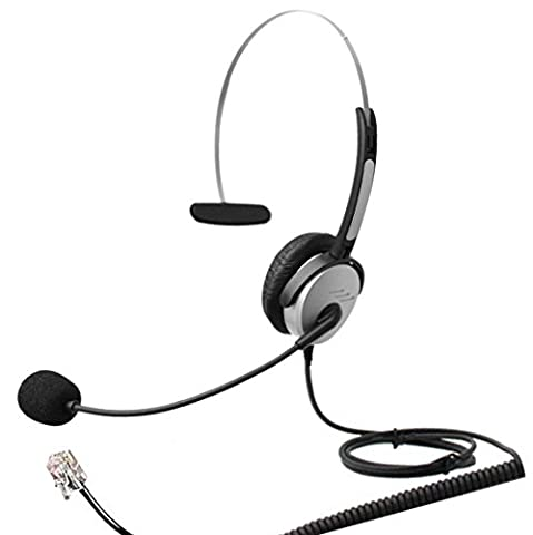 4Call H500MA Corded RJ Telephone Headset Mono with NC Microphone for Aastra Nortel Nec Mitel ShoreTel Toshiba Siemens GE InterTel Sprint Talkswitch Iwatsu Packet8 ESI Allworx 3Com Office IP Phones