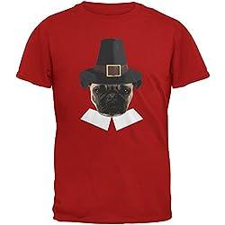 Camiseta roja diseño Acción de gracias peregrino de Pug gracioso