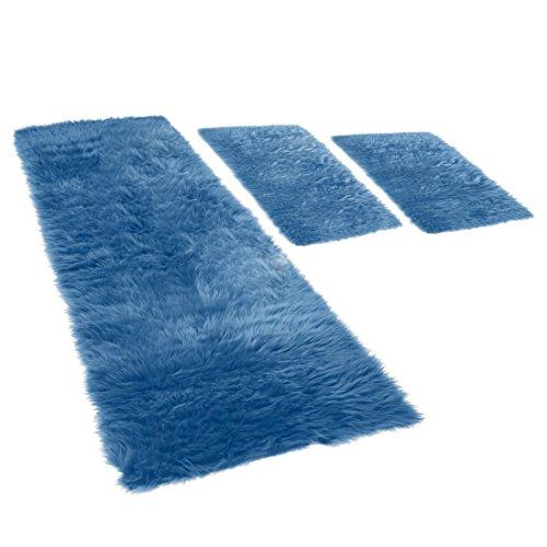 Flokati Bettumrandung, 3-teilig, in blau, 2x 70x110 + 70x220cm, Teppich/ Vorleger mit 70mm Hochflor Fell (synthetisch)