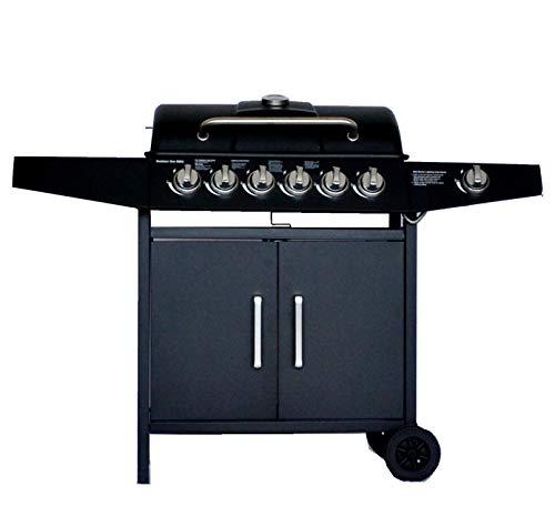 Grill Barbecue GasCompatto con 6+1 BruciatoreBBQ Gas per Pietre Lavichecon Fornello Laterale Controlli della Temperatura Indipendenti Grande area