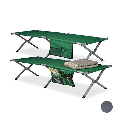 Relaxdays Lit de camp pliable lot de 2 lit camping XXL polyester HxlxP: 190 x 64 x 43 cm, sacoche transport