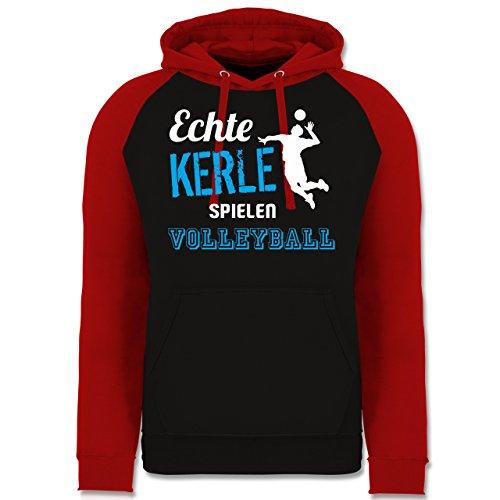 Shirtracer Volleyball - Echt Kerle Spielen Volleyball - L - Schwarz/Rot - JH009 - Baseball Hoodie