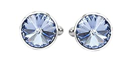 TRIPIN SILVER CUFFLINKS WITH SWAROVSKI ELEMENTS WITH PEN AND KEYCHAIN