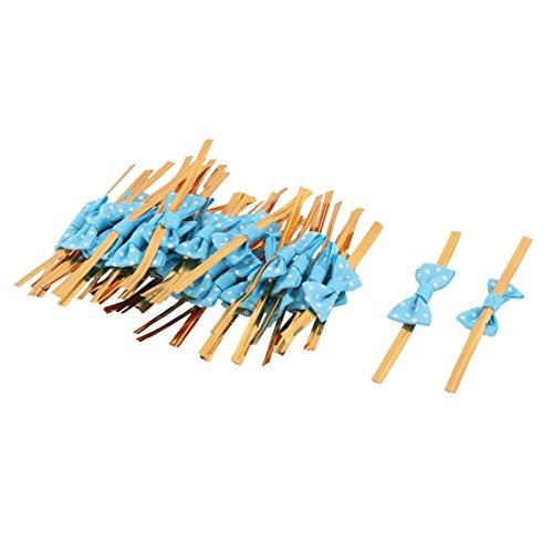nkte Muster Bowknot Dekor Süßigkeit Tasche Verpackung Seil Krawatte blau (Einfache Halloween-cake-pops)