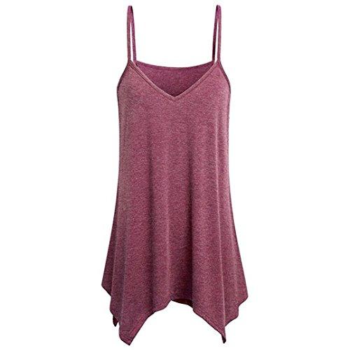 V-Ausschnitt Cami Tank Tops, Venmo Frauen Unregelmäßige Loose Vest Bluse Schulterfrei Elastisch Tops Elegant Strand Bluse Party Shirt Oberteil Tuniken Crop Neckholder (Red, 2XL(Asian XXL=EU XL)) (Red Pullover Kleid)