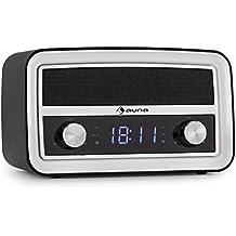 auna Caprice BK radio despertador diseño retro (interfaz Bluetooth, conexión USB, entrada AUX, sintonizador FM, memoria 10 emisoras, pantalla LED, funcionamiento red eléctrica o batería, negra)