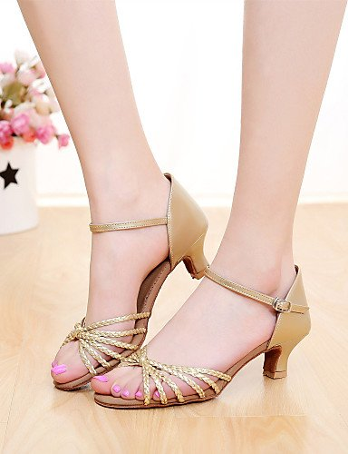 La mode moderne SUN Sandales femmes personnalisables LISA Chaussures de danse latin/Salsa sur mesure en simili cuir argent/or talon Silver
