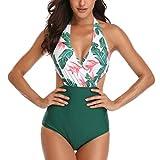 WinCret Femme Maillot de Bain Col V Halter Taille Haute Monokini 1 Pièce Plage Bikini, Vert, XL (EU 42-44)